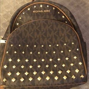 Michael Korda Backpack (Brown and Gold Studs)
